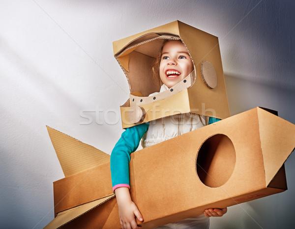 űrhajós gyermek jelmez mosoly öltöny fiatal Stock fotó © choreograph