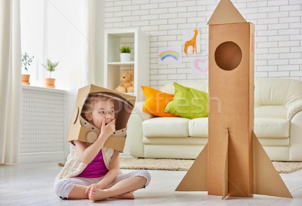 űrhajós gyermek mosoly otthon szoba öltöny Stock fotó © choreograph