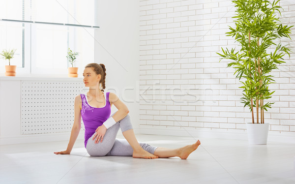 Foto stock: Prática · ioga · beautiful · girl · comprometido · menina · esportes