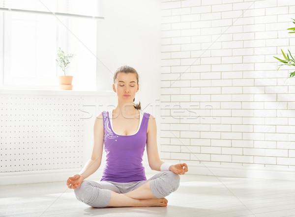 Prática ioga beautiful girl comprometido menina esportes Foto stock © choreograph