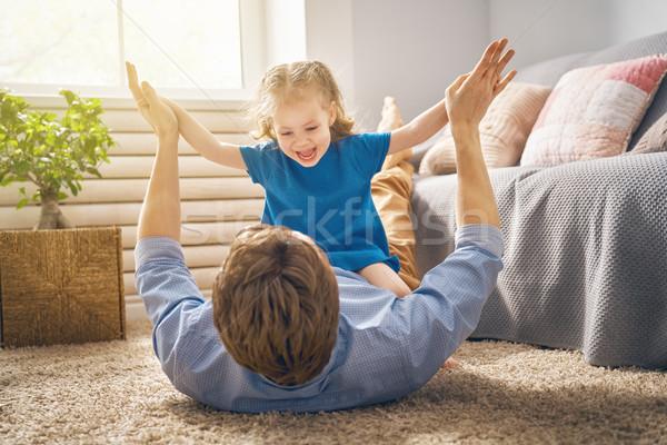 Papai criança jogar feliz amoroso família Foto stock © choreograph