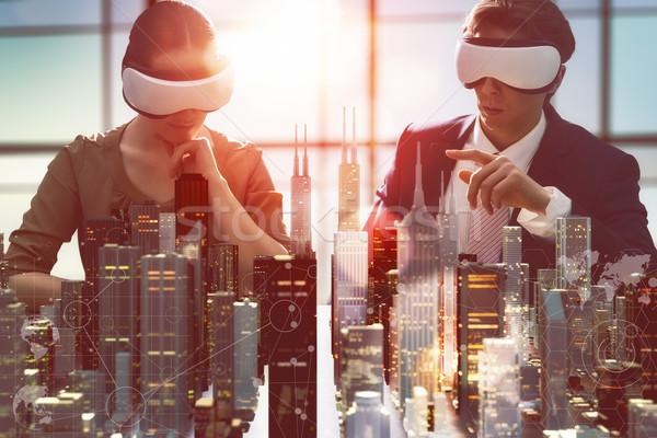 развивающийся проект два бизнеса виртуальный Сток-фото © choreograph