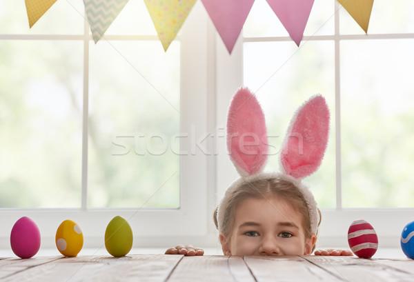 Stock photo: girl wearing bunny ears