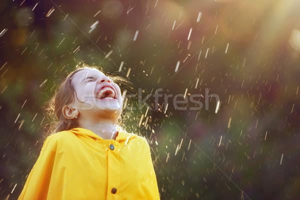 çocuk sonbahar yağmur mutlu komik duş Stok fotoğraf © choreograph