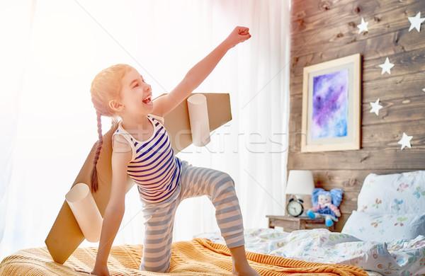 child playing superhero Stock photo © choreograph