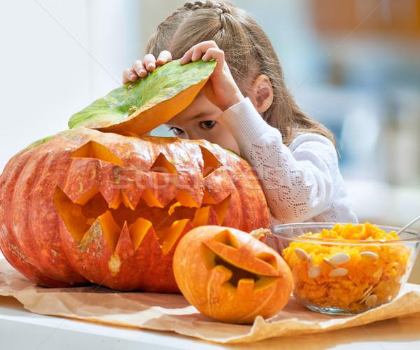 Halloween gün küçük kız kabak çocuk Stok fotoğraf © choreograph