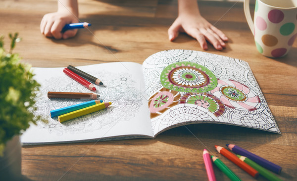 Child paint a coloring book Stock photo © choreograph