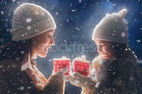 Madre nina potable té feliz amoroso Foto stock © choreograph