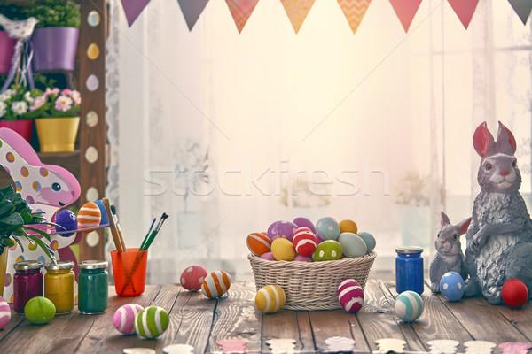 表 休日 カラフル 卵 バスケット ストックフォト © choreograph