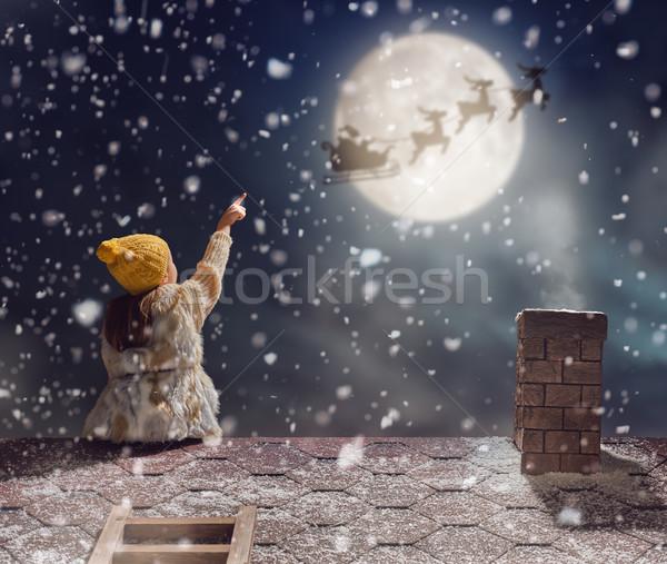 девушки сидят крыши веселый Рождества счастливым Сток-фото © choreograph