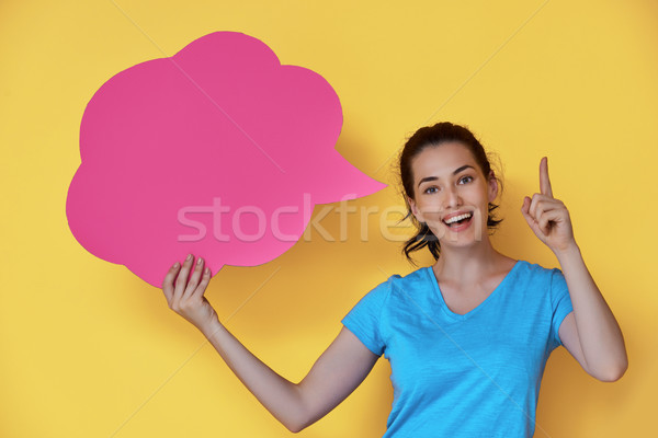 woman with cartoon thought Stock photo © choreograph
