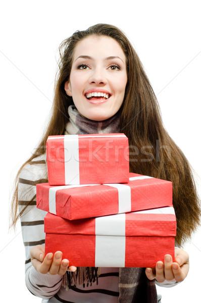 Présente fille blanche main femmes hiver Photo stock © choreograph