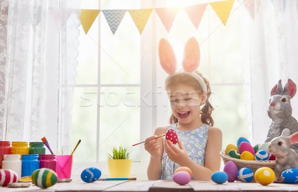 Сток-фото: ребенка · Живопись · яйца · красивой · счастливая · семья · Пасху