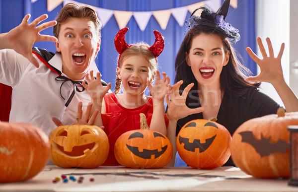 Stockfoto: Familie · halloween · moeder · vader · dochter