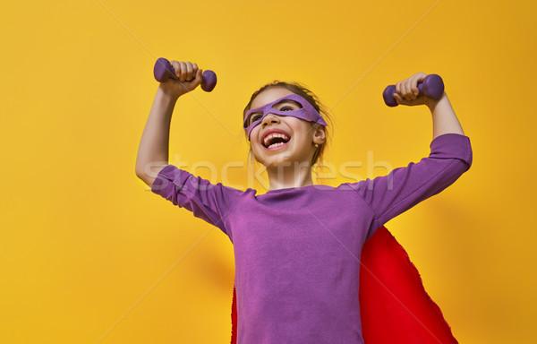 Zdjęcia stock: Dziecko · gry · superhero · mały · dziecko · jasne