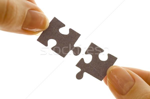 Puzzle parçaları bilmece başarı parmak oyunları Stok fotoğraf © choreograph