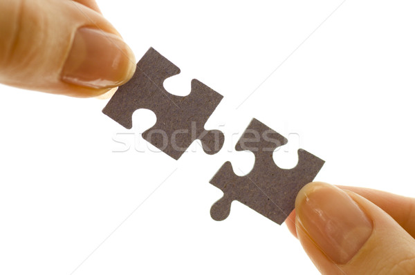 Puzzle puzzle sukces palec gry Zdjęcia stock © choreograph