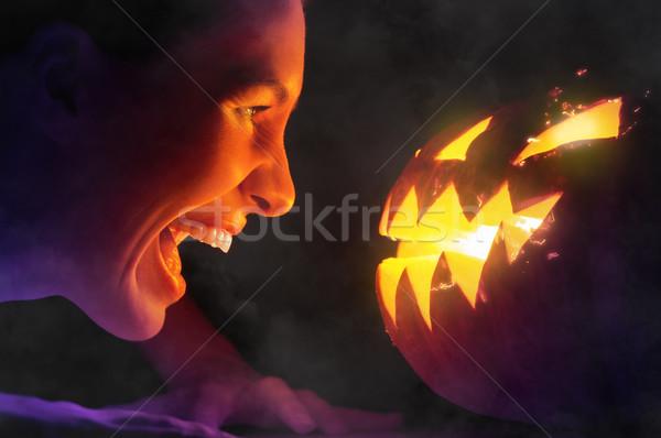 Хэллоуин день Scary ведьмой улыбка лице Сток-фото © choreograph