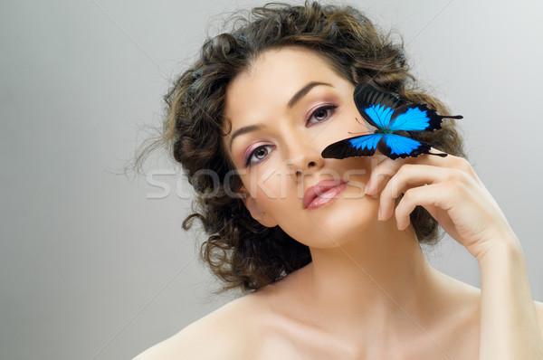 Pillangó nő lány gyönyörű nők boldog Stock fotó © choreograph