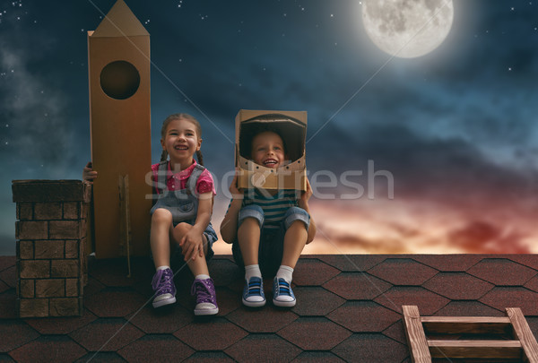 children playing astronauts Stock photo © choreograph