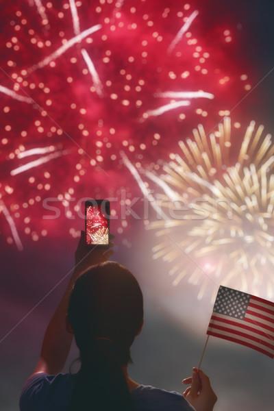 Foto stock: Mulher · bandeira · americana · patriótico · férias · feliz · mulher · jovem