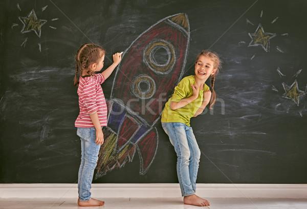 children are drawing rocket Stock photo © choreograph