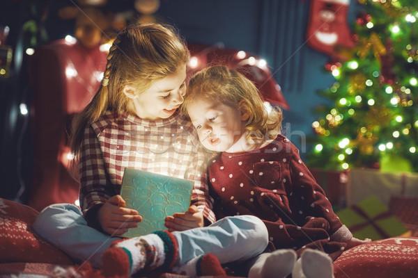 Ragazze presenti allegro Natale felice vacanze Foto d'archivio © choreograph