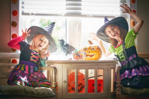Bambini halloween cute piccolo ragazze zucca Foto d'archivio © choreograph