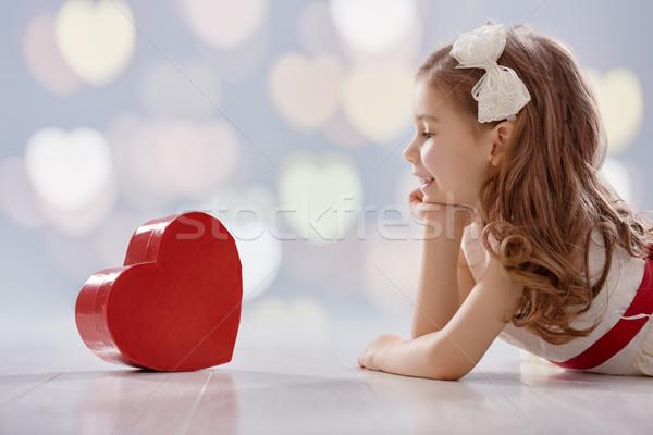 Сток-фото: девушки · красный · сердце · счастливым · Sweet