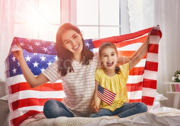 Stock photo: Patriotic holiday and happy family