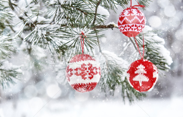 Stock photo: Christmas tree branch with baubles