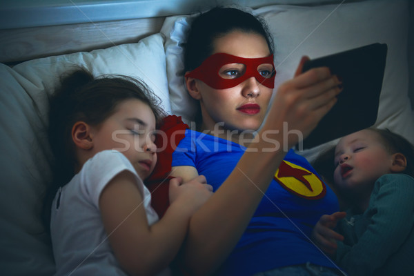 protection of the mother superhero Stock photo © choreograph