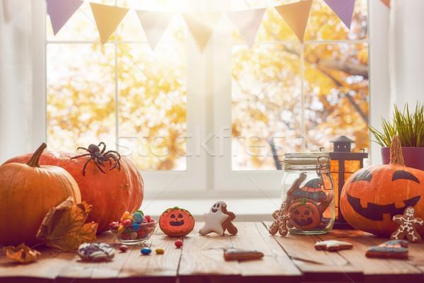 Pompoen snoep cookies gelukkig tabel Stockfoto © choreograph