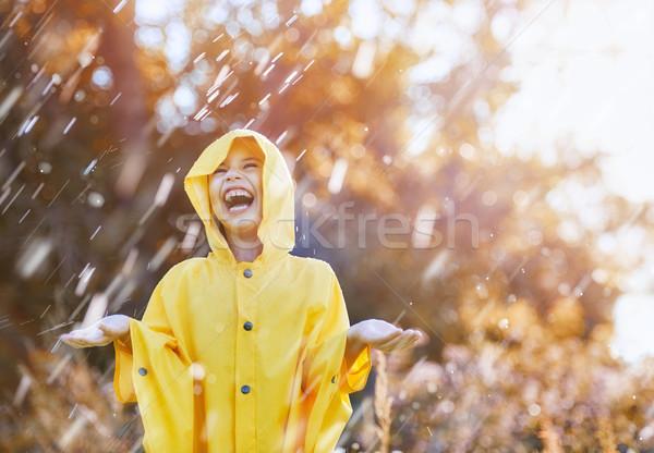 Bambino autunno pioggia felice divertente doccia Foto d'archivio © choreograph