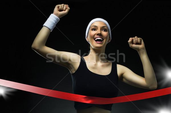 Overwinning atleet vrouwen sport fitness lopen Stockfoto © choreograph