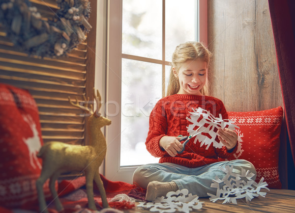 girl by window at Christmas Stock photo © choreograph