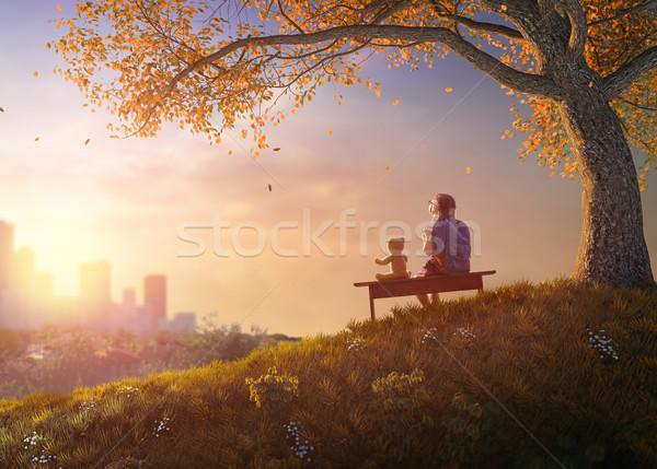 çocuk oturma bank okula geri mutlu sevimli Stok fotoğraf © choreograph