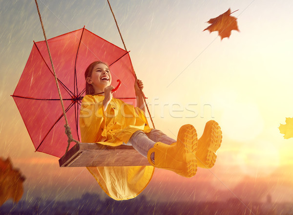 Criança vermelho guarda-chuva feliz engraçado outono Foto stock © choreograph