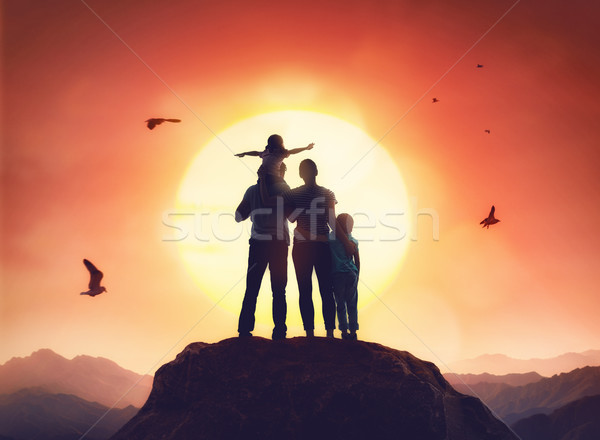 family at sunset Stock photo © choreograph