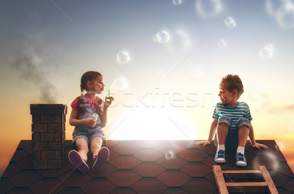 Kind zeepbellen gelukkig jeugd jongen Stockfoto © choreograph