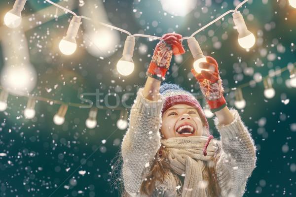 girl enjoying the holidays Stock photo © choreograph