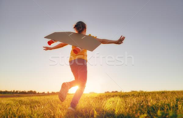 girl playing astronaut Stock photo © choreograph