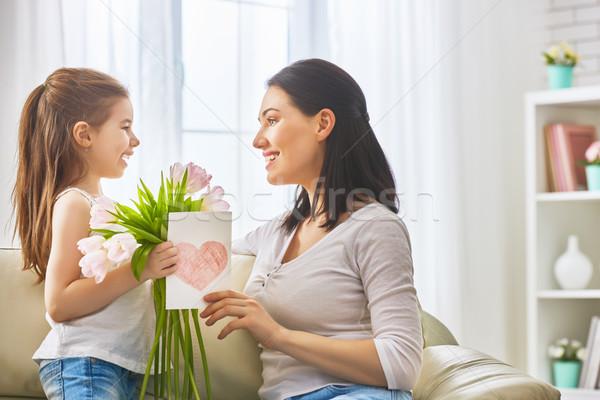 Foto stock: Hija · mamá · nino · flores · tulipanes