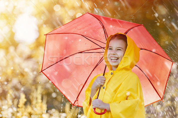 Stock photo: child with red umbrella