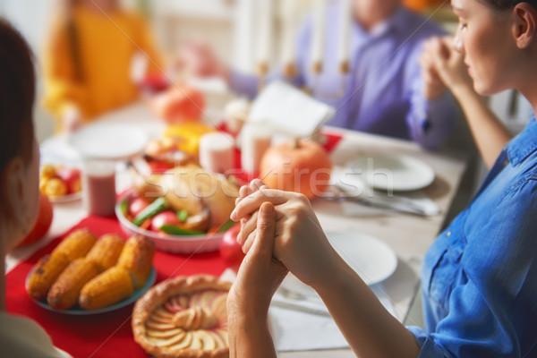 Foto stock: Feliz · ação · de · graças · dia · outono · festa · família