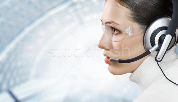 Fone beleza mulher de negócios cara mulheres Foto stock © choreograph