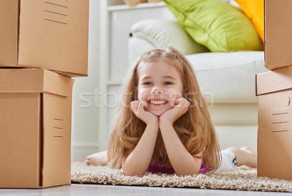 Nowy dom przenieść uśmiech szczęśliwy dziecko domu Zdjęcia stock © choreograph
