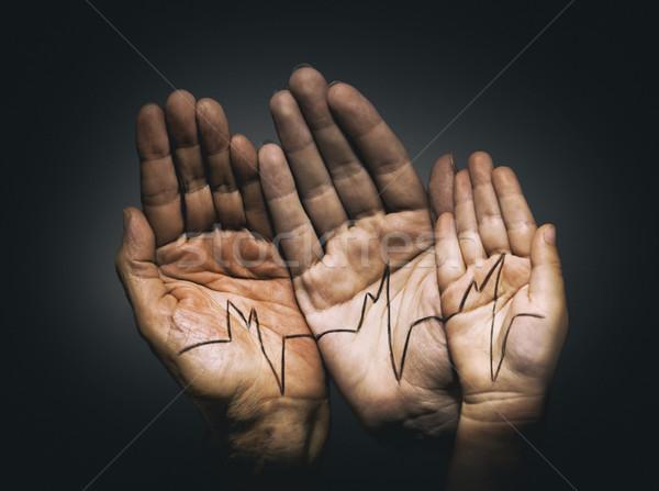 手のひら 若者 大人 子 健康 母親 ストックフォト © choreograph