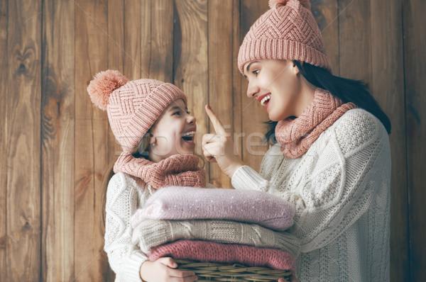 Tél portré család boldog szerető visel Stock fotó © choreograph
