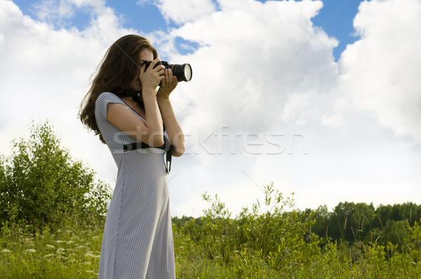若い女の子 写真 夏 風景 草 ストックフォト © choreograph